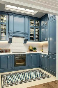 Turkuaz mutfak dolabı modeli